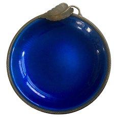Vintage Evans Elegance Enamel Ashtray Handmade Blue Brass 1940 Circa