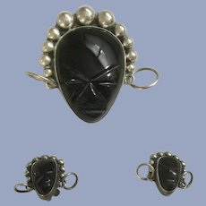Vaughn's Sterling Silver Carved Black Onyx Tribal Mask Brooch & Earrings