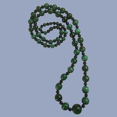 Malachite Graduated Beads and Black Onyx Endless Necklace