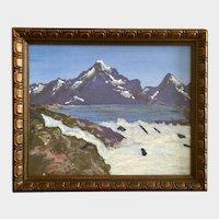 Primitive High Mountain Lake Acrylic Painting