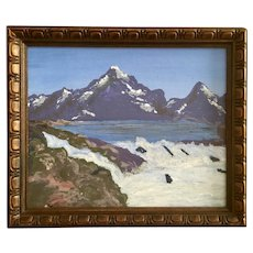Primitive High Mountain Lake Acrylic Painting