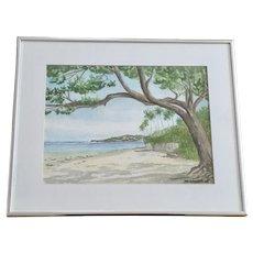 Mary Kathryn Balliett Child (1926-2017), Kahala Beach Hawaii Watercolor Painting