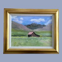 Robert Carr, Rural Barn in Mountain Landscape Oil Painting