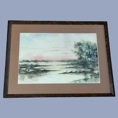 Sadie Logan, Birds Flying Into The Sunset Watercolor Painting 1910