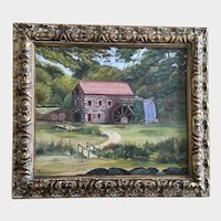 S Paulson, Old Waterwheel Gristmill Mill Building Landscape Oil Painting