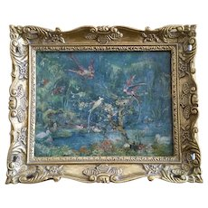 Circa 1850s Bird Sanctuary Antique French Oil Painting