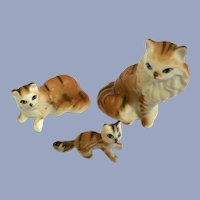 Orange and White Stripped Tabby Cat Family Figurines Bone China Miniatures