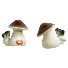 Mushroom and Frog Salt & Pepper Shakers Bone China Japan