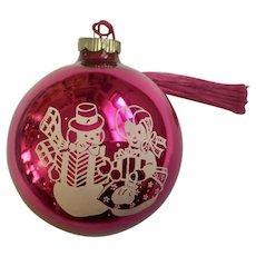 Shiny Brite Pink Stenciled Mercury Glass Christmas Ornament