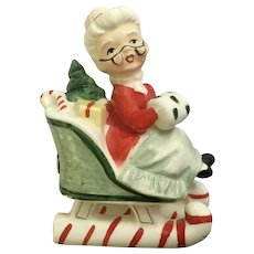 Vintage Lefton Mrs Claus in Sleigh Single Salt or Pepper Shaker Replacement