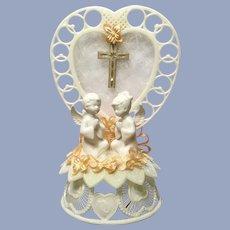 Amidan's Wedding Cake Topper Angels & Cross 1980's Hand Made