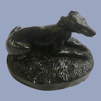 Greyhound Dog Figurine Made of Carved Coal