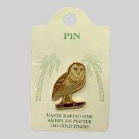 Barn Owl Bird American Pewter Works 1986 Lapel Pin