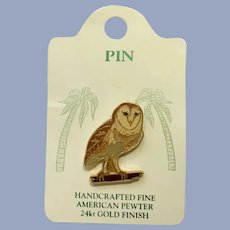 Barn Owl Bird American Pewter Works 1986 Lapel Pin