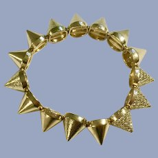 Steampunk Spiked Gold-tone Faux Diamond Bracelet 6-1/4""