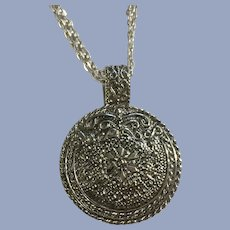 Silver-tone Medallion with Center Flower Necklace