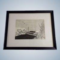 Aoyama Masaharu (Japanese 1893-1969) Riverboat Woodblock Print