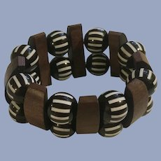 Wood & Tiger Striped Black & White Stretch Bracelet