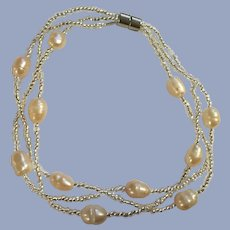 Fresh Water Pearl  Silver-tone Beaded Bracelet