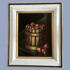 Lloyd Neilson, Bushel of Apples Painting on Black Velvet
