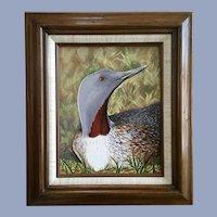 Charles Batavia, Loon Bird Acrylic Painting Colorado Artist
