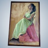 A Slater, Oil Painting, Portrait of a Sitting Hindu Woman, Bollywood Painted on Canvas Board, Signed by Artist