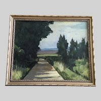 Rudy Helmo, Path Through Trees Landscape Oil Painting By Listed Artist