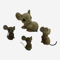 Fuzzy Flocked Vintage Mice Family 1970's Group
