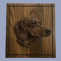 Red Dachshund Dog Relief Sculpture Wall Plaque