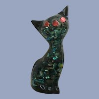 Vintage Resin Kitty Cat Figurine with Abalone Shell