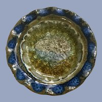 Art Pottery Small Glass On Ceramic Dish Tea Light