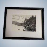 Aoyama Masaharu (Japanese 1893-1969) Mountain & Pheasant Woodblock Print