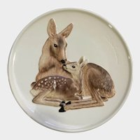 Goebel Relief Deer Plate Mother Series Mom and Fawn West Germany
