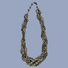 Vintage Twisted Rope of Faux Pearls Necklace Japan