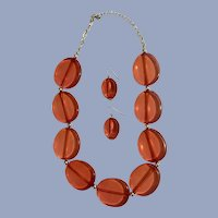 Vintage Orange Acrylic Beaded Necklace and Matching Earrings