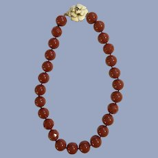 Burgundy Red Beaded Necklace with Lovely Flower Clasp