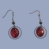Dangling Cranberry Colored Beaded Earrings with Fishhook Loops
