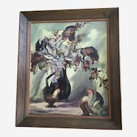 V R Stumm, Roosters Table Still Life Oil Painting