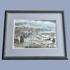 C Roe Allman, Utah Desert Arroyo Landscape Watercolor Painting