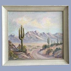 Marian Letton (1894 - 1975) Desert Saguaro Cactus Oil Painting Listed Artist