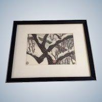 Aoyama Masaharu (Japanese 1893-1969) Apricot Tree Woodblock Print