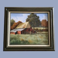 G Bells, Weathered Red Barn Oil Painting