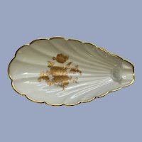 Limoges France Spoon Rest Oyster Shell Golden Rose Pattern