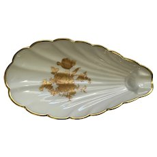 Limoges France Spoon Rest Oyster Shell Golden Rose Pattern