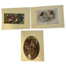 3 Victorian 1875-1880 Large Die Cut Embossed Paper Scrap Cards