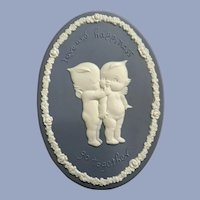 Kewpie Doll Plaque Love and Happiness Go Together Wall Plaque Blue Jasperware