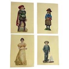 4 Victorian 1875-1899 Large Die Cut People Embossed Paper Scrap Cards