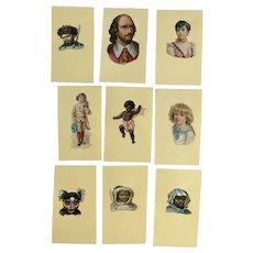 9 Victorian 1875-1899 People Die Cut Embossed Paper Scrap Trade Cards