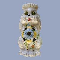 Vintage Poodle Dog Tea Light Candle Holder with Glass Eyes Figurine