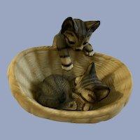 M. Takai Porcelain Striped Tabby Cat Kittens E134A 84 Japan